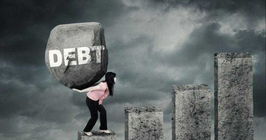 Woman carrying debt